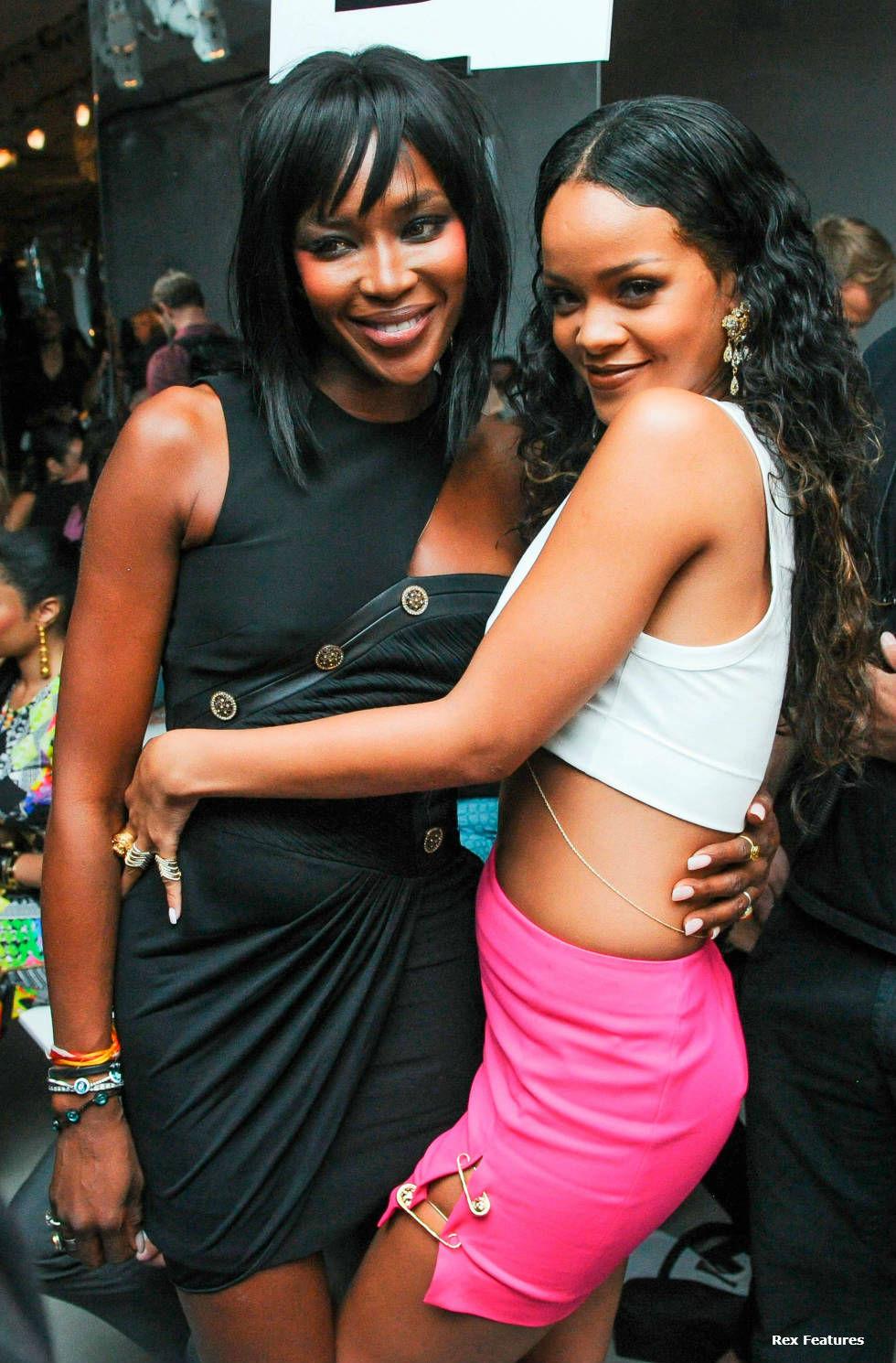 Naomi Campbell and Rihanna at Versace SS15 fashion show. NYFW 2014